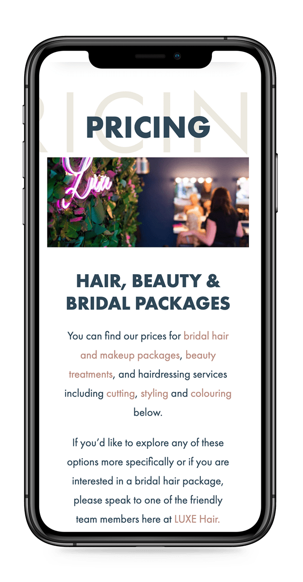 Hair salon web design and salon marketing for LUXE Hair Beauty Bridal Leicestershire